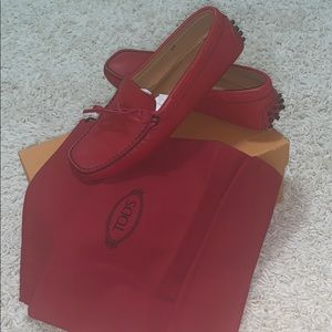 Tods red leather loafers